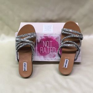 Not Rated Silver Eliana Sandals Size 6-1/2